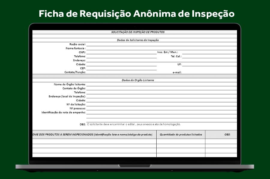 Ficha de Requisição Anônima de Inspeção